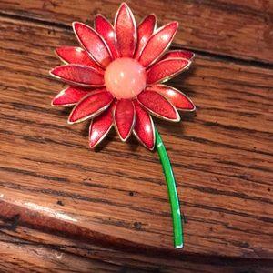 German metal flower brooch